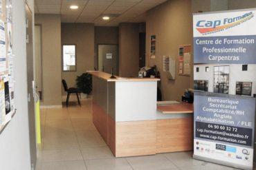 L'accueil de Cap Formation, organisme de formation professionnelle continue à Carpentras, à deux pas du centre-ville.