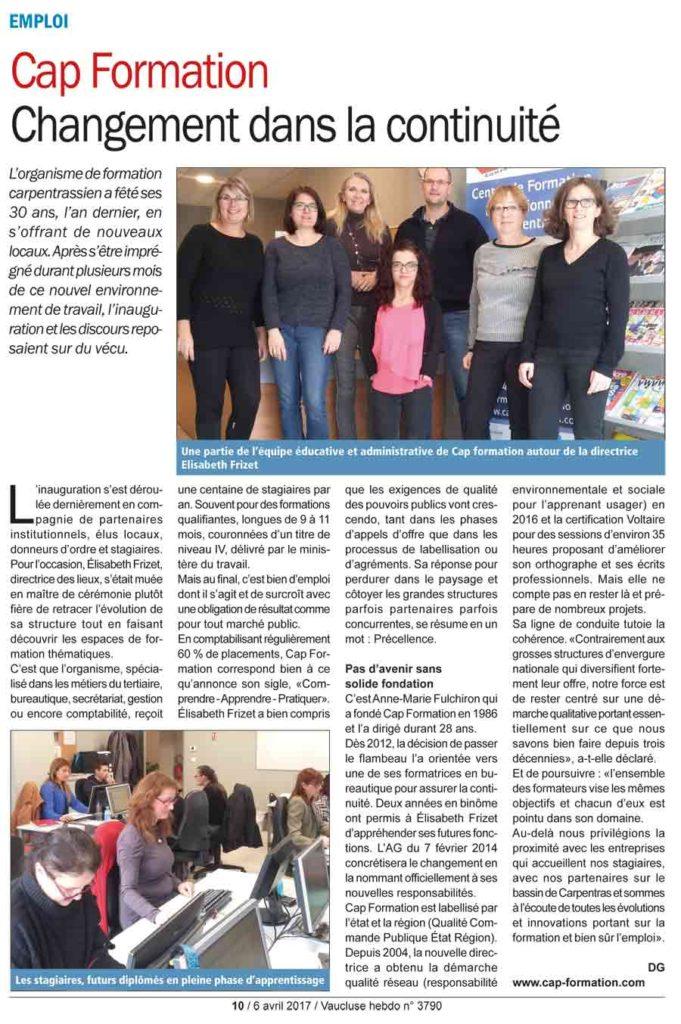 Un superbe article sur Cap Formation, centre de formation professionnelle continue, proche d'Avignon, à Carpentras.