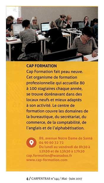 Cap Formation, article de Presse, de présentation.