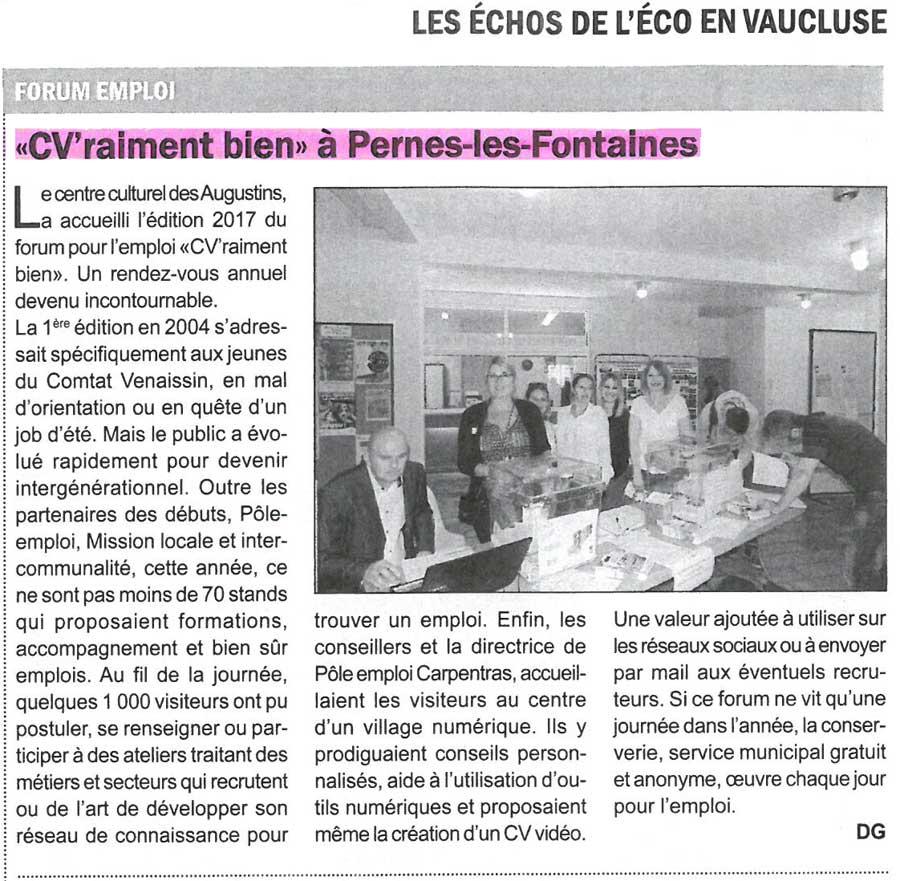 """Un article de presse sur Cap Formation qui était présent au Forum """"CV'raiment bien"""" à Pernes-les-Fontaines."""