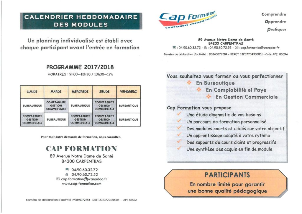 calendrier formation